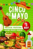 Cinco De Mayo Mexican Party On 5 May Holiday In Mexico. Vector Balloons And Bunting Flags, Tradition poster