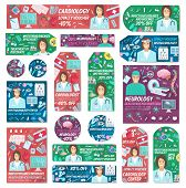 Doctors And Medical Clinic Staff Posters. Vector Cardiology, Neurology Or Ophthalmology And Infectio poster