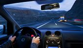 foto of wreckers  - Inside car view at high speed and blurred accident - JPG