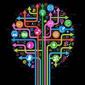 el árbol de las flechas y los iconos en el tema de las redes sociales