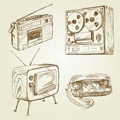 vintage, retro design - hand drawn set