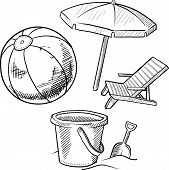 Beach vacation objects sketch