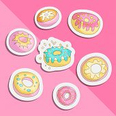 Cute Funny Girl Teenager Colored Icon Set Sticker Donuts, Fashion Cute Teen And Princess Icons. Magi poster