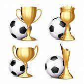 Soccer Game Award Set Vector. Football Ball, Golden Cup. Modern Soccer Tournament. Design For Sport  poster