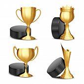 Ice Hockey Game Award Set Vector. Ice Hockey Puck, Golden Cup. Modern Ice Hockey Tournament. Design  poster