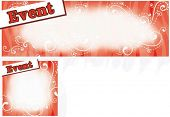 Sample for Event Card or Coupon with Happy Celebrations on red swirl pattern background