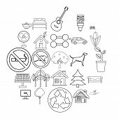 Environmental Standard Icons Set. Outline Set Of 25 Environmental Standard Vector Icons For Web Isol poster