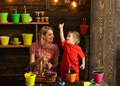 Gardening Concept. Little Child Show Thumbs Up Hand To Mother Planting Flower In Pot, Gardening. Org poster