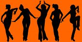 Five Dancing Women Silhouettes On Orange Background