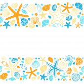 Cute Summer Background With Different Shells And Starfishes As Seamless Borders poster