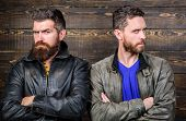 Men Brutal Bearded Hipster. Confident Competitors Strict Glance. Masculinity Concept. Masculinity At poster