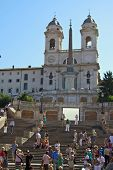 ROME - JULY 9: Tourists visit Piazza di Spagna on July 9, 2011 in Rome, Italy. The Scalinata is the
