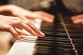 Beautiful Piano Melody...close Up View Of Female Hands Playing On Piano Her Favorite Classical Music poster