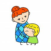 Happy Mother With Son Simple Vector Illustration On White Background. Little Boy Hugs Mommy. Happy M poster