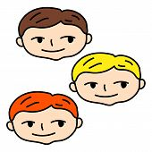 Smiling Boy Face With Blonde, Brown And Red Hair. Doodle Boy Head Vector Illustration On White Backg poster