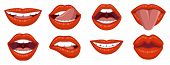 Beautiful Set Of Womens Sexy Lips. Lipstick Kiss. Sexy Womans Lips Expressing Different Emotions, Su poster