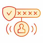 Password Protected Flat Icon. Password Authorization Orange Icons In Trendy Flat Style. Strong Passw poster