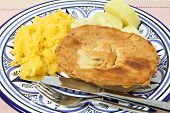 stock photo of rutabaga  - A homemade pie with swede  - JPG