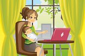 stock photo of homemaker  - A vector illustration of a mother working on a laptop while holding a baby - JPG