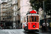 Man In A Vintage Tram On The Taksim Istiklal Street In Istanbul. Man On Public Transport. Old Turkis poster