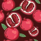 Seamless Pattern With Pomegranates. Vector Decorative Patterns. Pomegranate Fruit On Dark Background poster