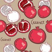 Seamless Pattern. Pomegranates. Vector Decorative Patterns. Pomegranate Fruit. Fruits Background. El poster