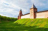 Veliky Novgorod, Russia, Landmark View. Towers And Walls Of Veliky Novgorod Kremlin Fortress - Landm poster