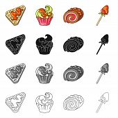 Vector Illustration Of Confectionery And Culinary Icon. Set Of Confectionery And Product Stock Symbo poster
