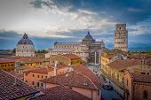Sunset Aerial View Of Pisa Historic Center With Famous Leaning Tower And Duomo Di Pisa Cathedral. To poster