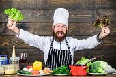 Healthy Food Recipe. Eat Healthy. Dieting Concept. Man Wear Hat And Apron Hold Lettuce. Healthy Nutr poster