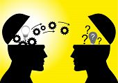 Knowledge Or Ideas Sharing Between Two People Head, Transferring Knowledge, Innovation, Brain Stormi poster