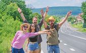 Travellers Try To Stop Car. Friends Hitchhikers Travelling Summer Sunny Day. Company Friends Travele poster