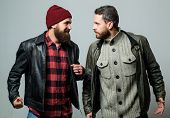 Friendship Of Brutal Guys. Real Friendship Mature Friends. Male Friendship Concept. Brutal Bearded M poster