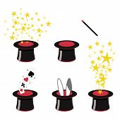 Magic Clip Art - 5 Black And Red Magicians Top Hats With Stars, Playing Cards, Bunny Ears, Magic Wan poster
