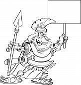 Cartoon Spartan holding a sign