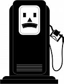 pic of high-octane  - black gas or fuel pump with an unhappy face  - JPG