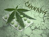 Cannabis Leaf And Drugs Over Grunge Texture