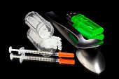 picture of crystal meth  - Various items used in combination with injecting methamphetamine - JPG