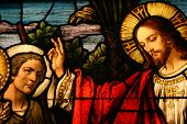 image of stained glass  - Stained glass showing Jesus blessing a man - JPG