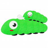 Rice Paper Cut Cute Green Worm