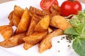 Baked Potato Wedges With Tzatziki