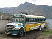 A Guatemalan chicken bus in San Pedro