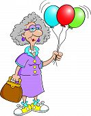 Senior citizen lady holding balloons