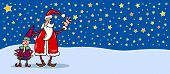 Santa And Cristmas Elf Cartoon Card