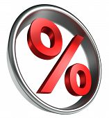 Per Cent Red Symbol In Round Frame