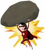 image of meteorite  - Illustration of a comic red super woman character throwing a big heavy meteorite rock with her arms - JPG