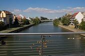 stock photo of regnitz  - A bridge in Bamberg with a lot of padlocks - JPG