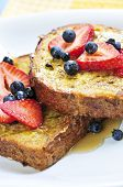 image of french-toast  - Breakfast of french toast with fresh berries and maple syrup - JPG