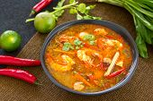 Thai sour and spicy prawn soup