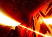 Abstract Fiery Space Craft Background